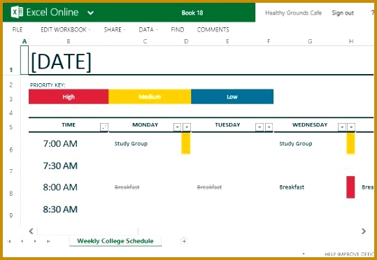 how to easily create class schedules using excel 539372
