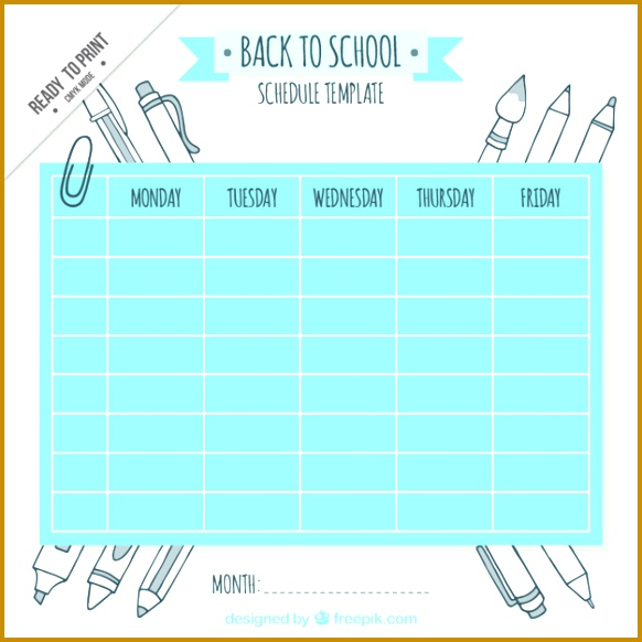Cute school schedule template with drawings Free Vector 582582