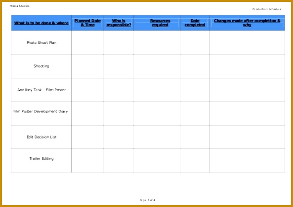 production schedule template blank 593420