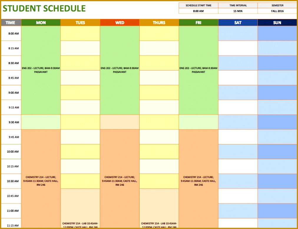 Student Schedule Template 7771012