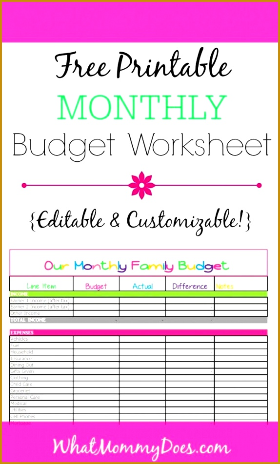 Free Monthly Bud Template Cute Design in Excel 952574