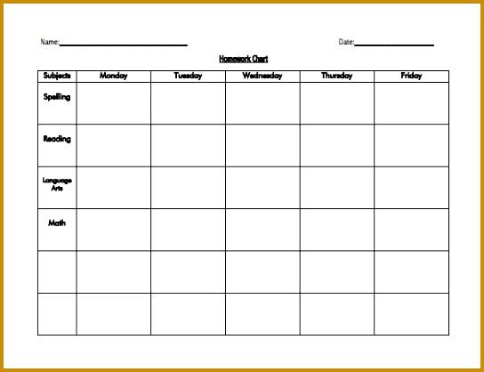 Editable Homework Schedule Template for Kids PDF 418544