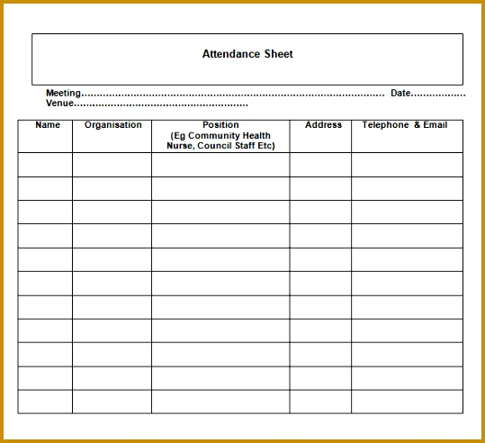 Nice Sample of Attendance Sheet Template with Meeting Date and Venue and Table an image 539492
