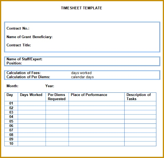 Monthly Timesheet Template Word 535558