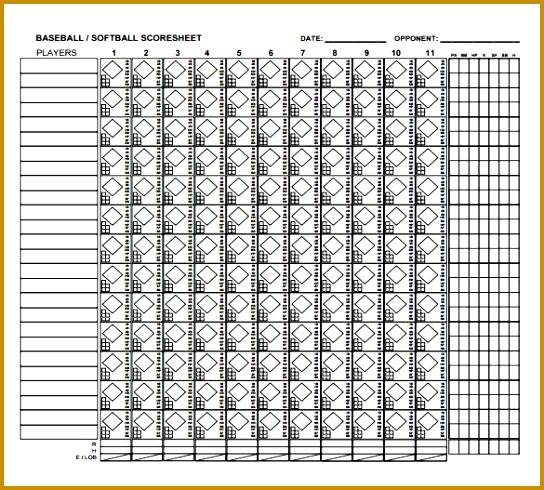 Printable Blank Number Line Pdf Printable Editable Blank U2013 Baseball Score Sheet 490544