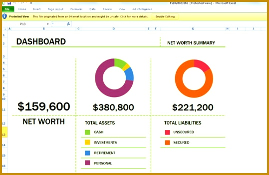 Free Net Worth Spreadsheet Template for Excel 2013 350539