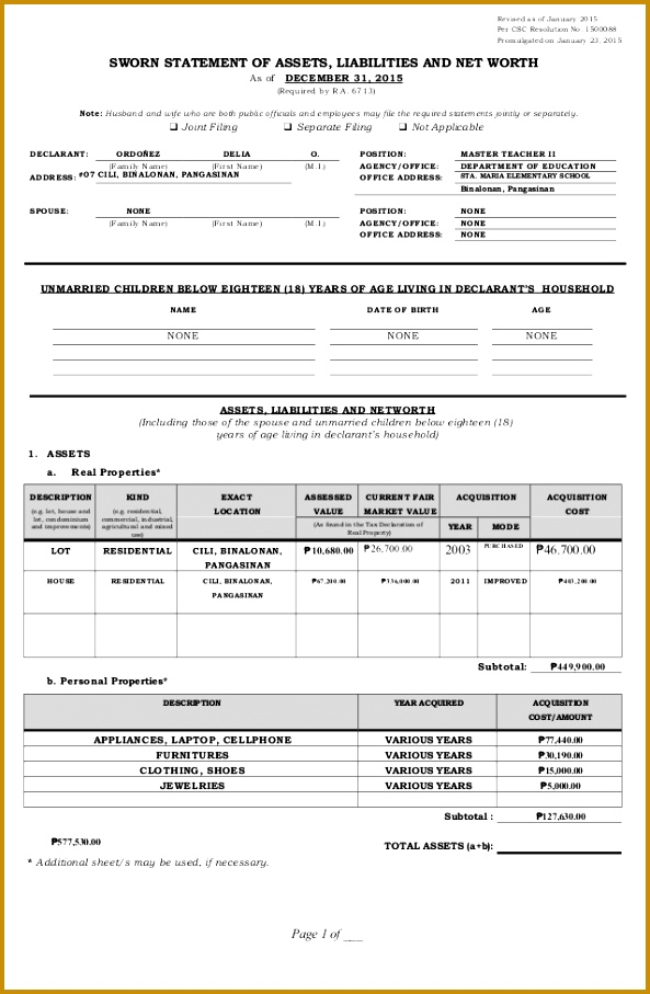 Revised as of January 2015 Per CSC Resolution No Promulgated on January 23 593907