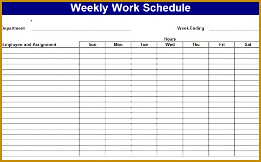 Weekly work schedule Templates Free Download 318511