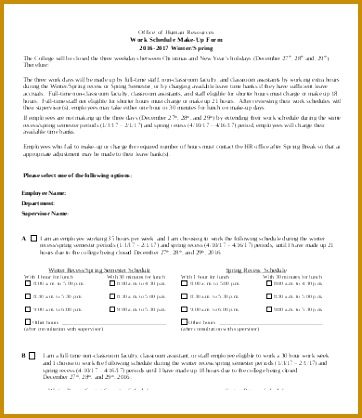 fice Work Schedule Template 418362