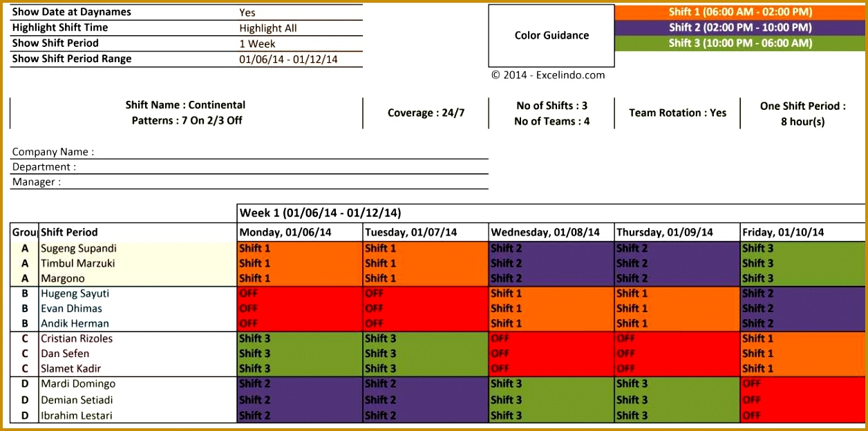 Shift Schedule Planner 6241256