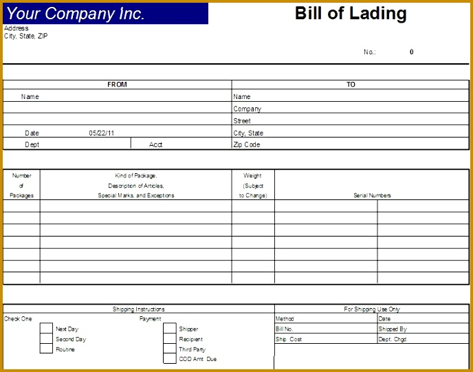 Printable Sample Bill Lading Template Form 541688