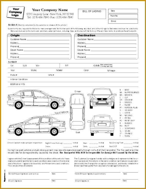Printable Sample Bill Lading Pdf Form 736569