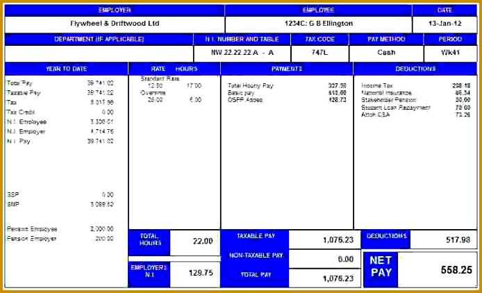 sample of a payslip 422694