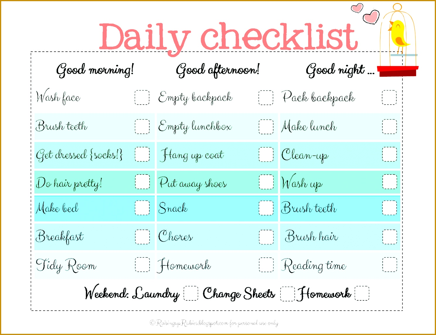 Personal Daily Checklist Template 50773 Raising Up Rubies Back To ...