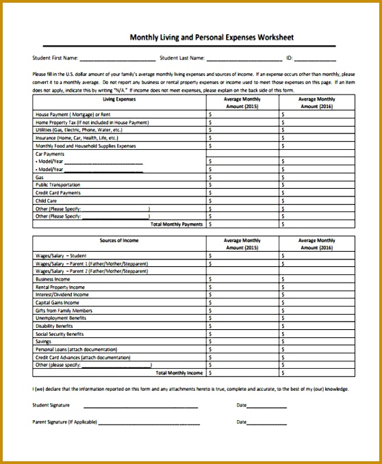 Monthly Personal Expense Worksheet Report Form 678558