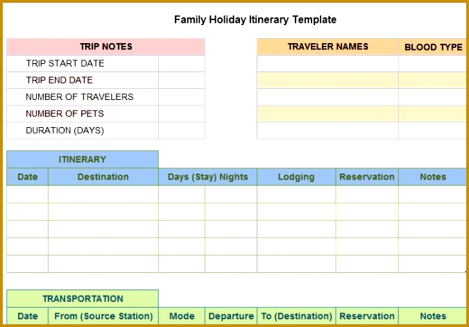 5 Personal Holiday Planner Template