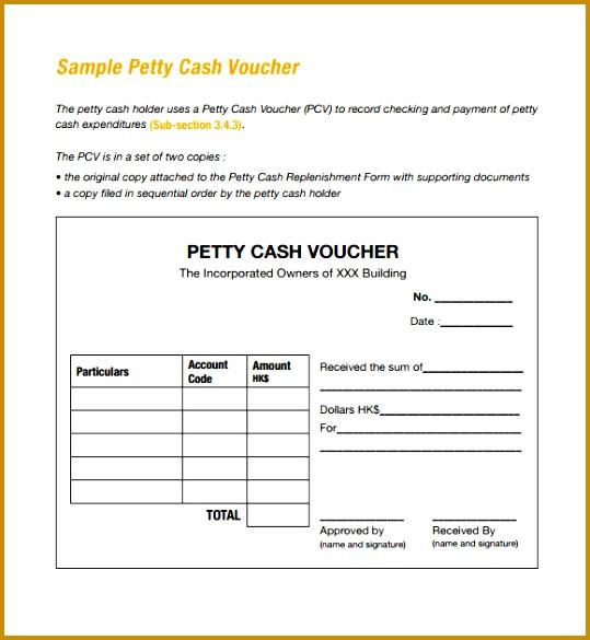Petty Cash Voucher Sample 585539