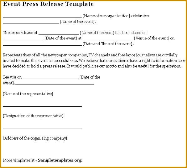 event press release template 537597