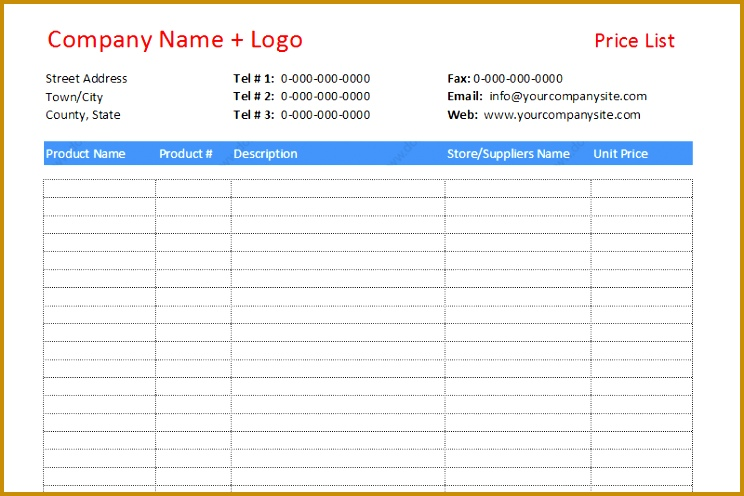 Price list template to pare different prices featured image 496744