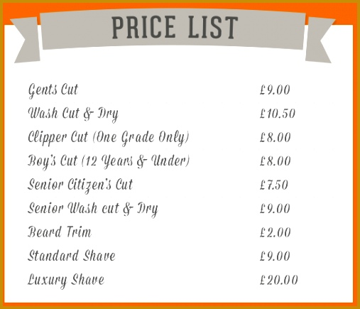 Barber Shop Price List Template Below is our price list 435507