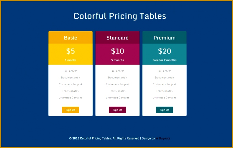 colorful pricing table 502790