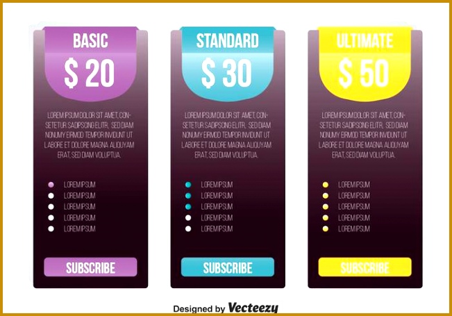 Pricing Table Template Vector 455651