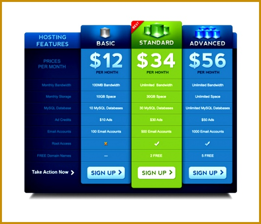 Pricing Table PSD Template 534458