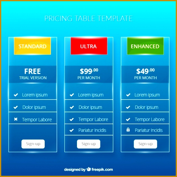 Price table template Free Vector 582582