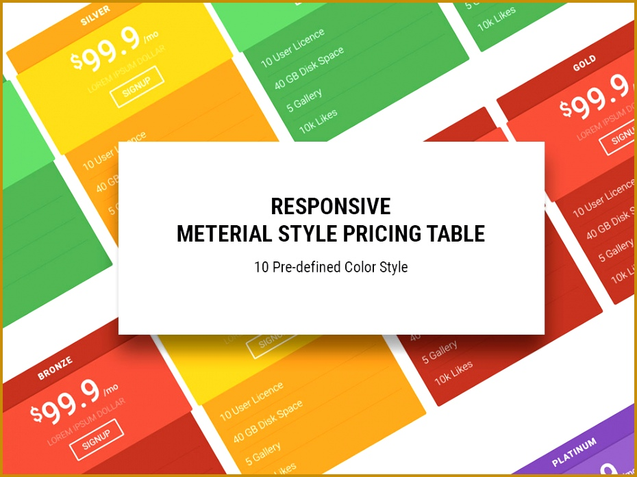 Material – Free HTML5 Responsive Pricing Table Template 697930
