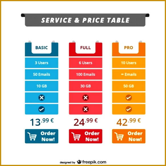 Service and price table web template Free Vector 582582