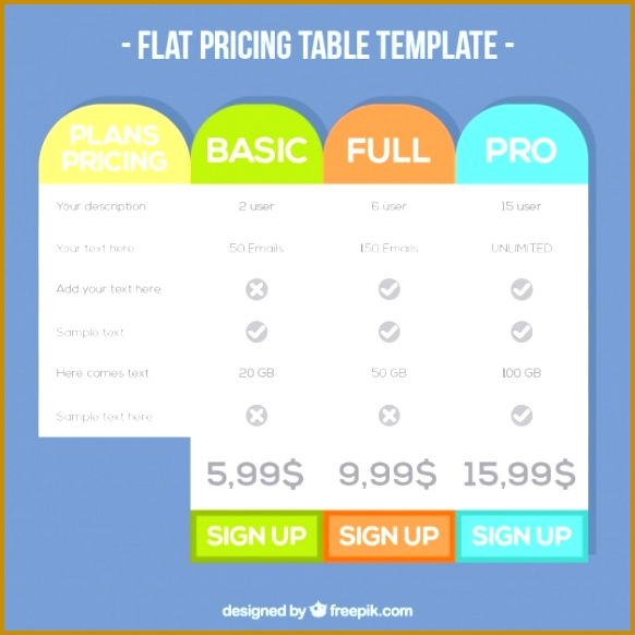 Table plans template of prices Free Vector 582582
