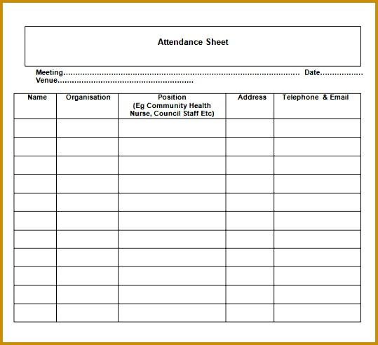 general attendance sheet template attendance record template excel exltemplates 539492