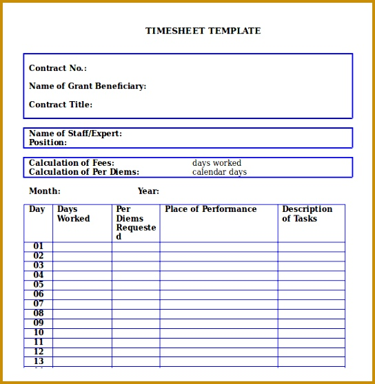 Microsoft Word Monthly Timesheet Template Download 558544