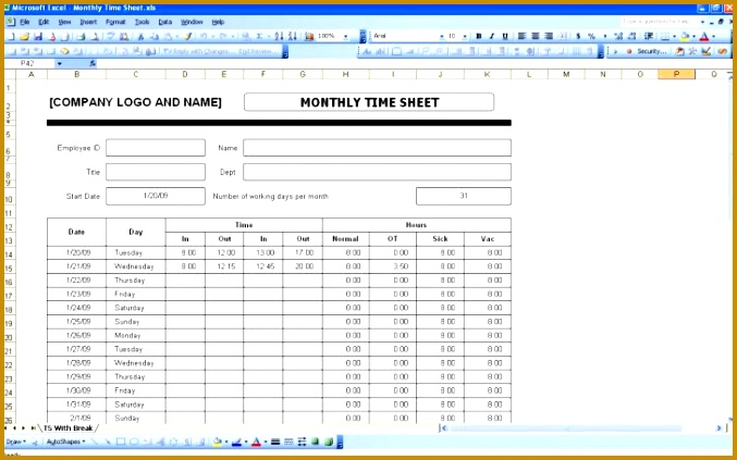 Free Printable Monthly Timesheet Template Medium size Free Printable Monthly Timesheet Template size 423677