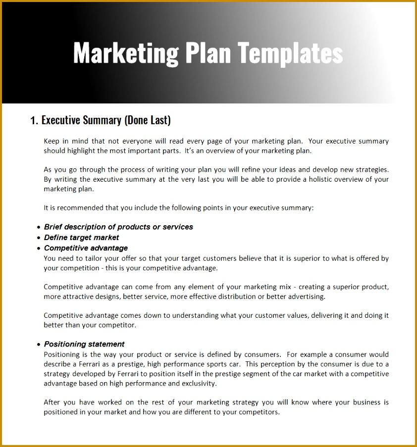 marketing Plan Templates 903842