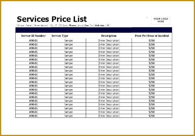 Product Price List Sales Report Template Myira Awesome Services Price List Template for Ms Excel 684478