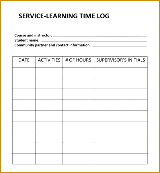 hours log template 604558