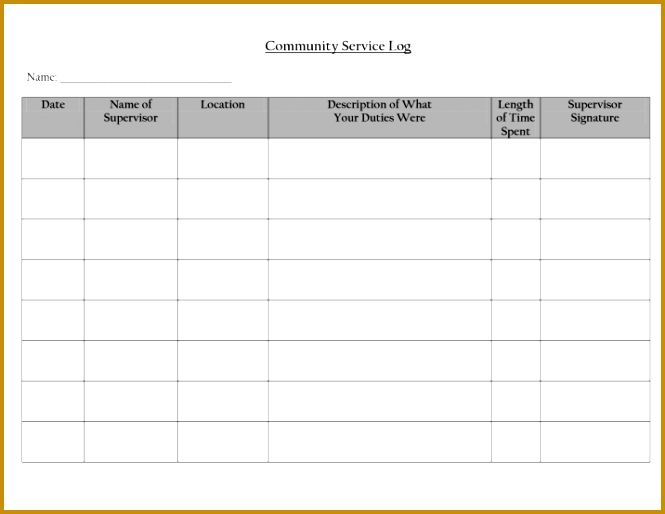 munity Service Log Blank Template 665514