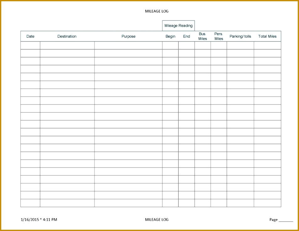 printable mileage log sheet template 735952