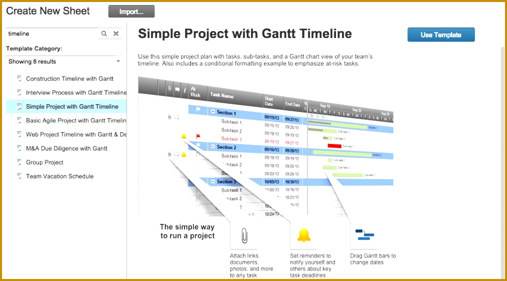 Smartsheet timeline template 1014562