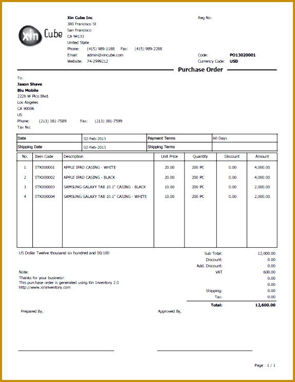purchase order template 743574