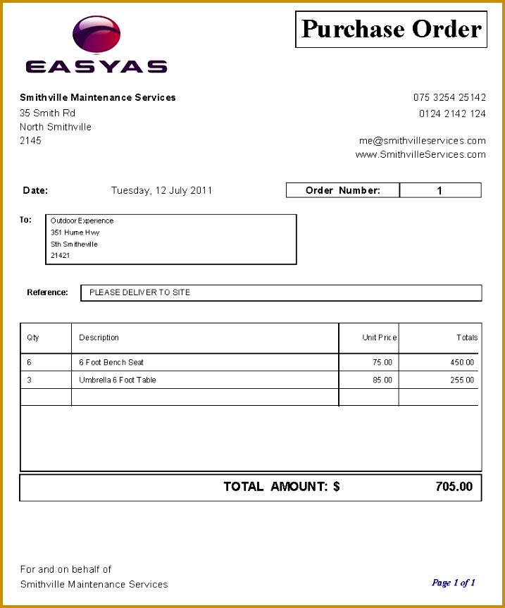 purchase order template 863717