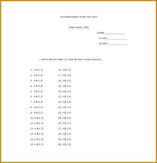 sample answer sheet 563544