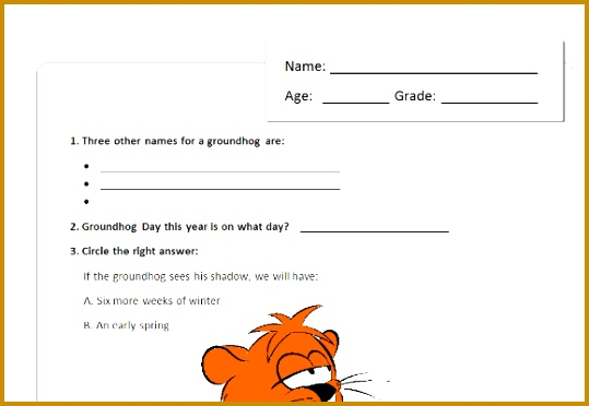 childrens groundhog day quiz template for word 372539
