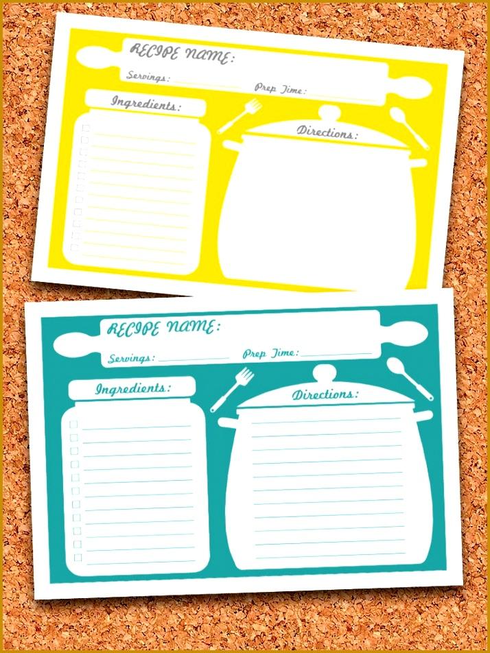 4 Recipe Card Template