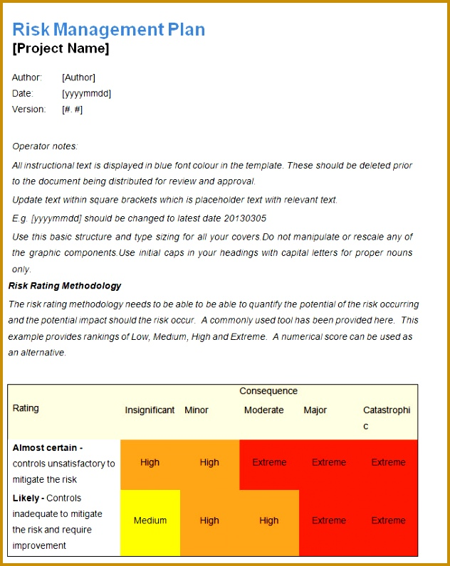 Risk Manageme PLan Template 796632