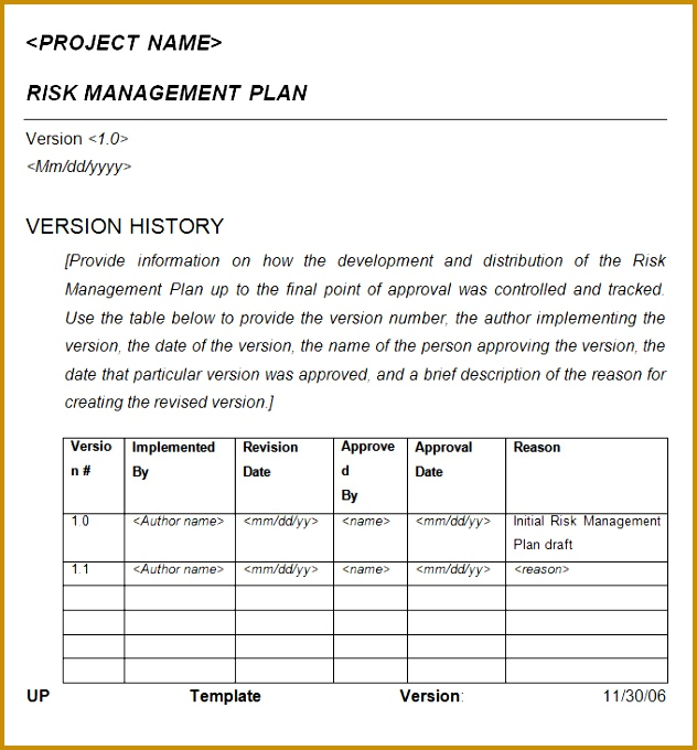 Sample Risk Management Plan Template 680632