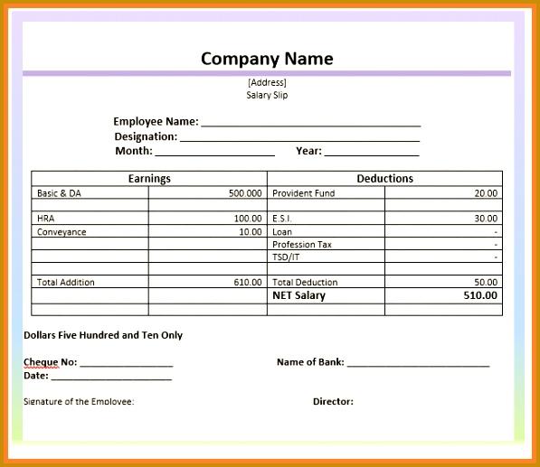 12 salary slip format on letterhead 517597