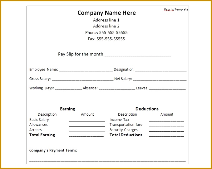 payslip template format word and excel 542679