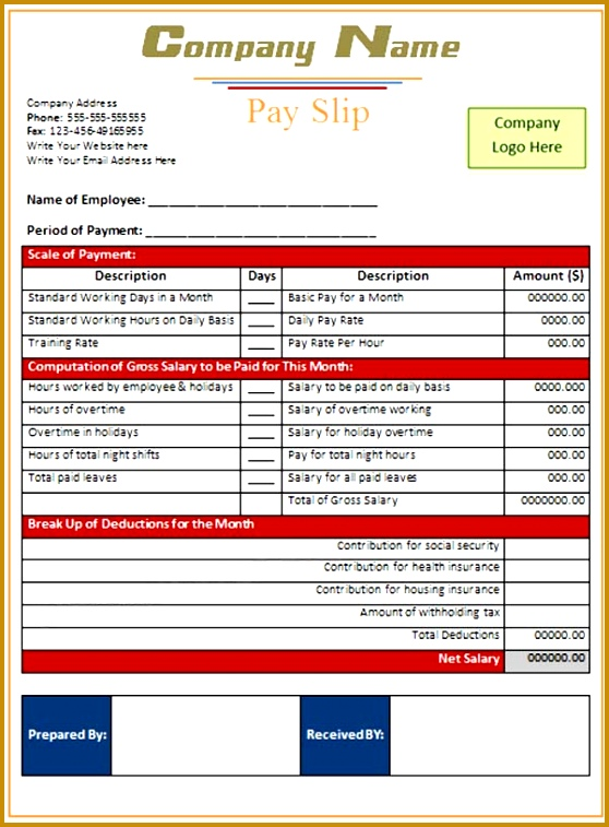nice pay slip template example for monthly period with red accent table and blank filled space 558757